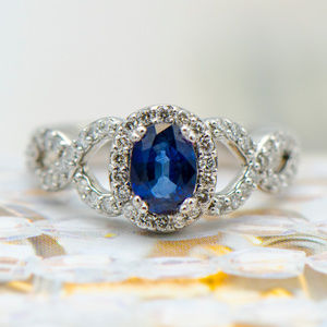 Jewelry - Blue Oval Sapphire & Diamond Twisted Braid Ring
